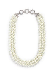 Kenneth Jay Lane Crystal Pave Chain Glass Pearl Necklace White