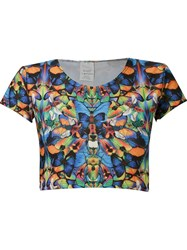 Blue Man Butterfly Crop Top