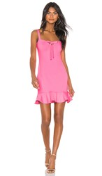 Susana Monaco Keyhole Front Ruffle Hem Dress In Pink. Knockout Pink