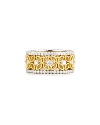 Jack Kelege And Company 18K White Yellow Gold Floral Filigree Ring With Diamonds 1.42 Tdw