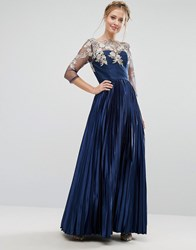 Chi Chi London Premium Lace Maxi Dress With Pleated Metallic Skirt Navy Gold