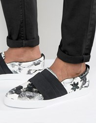 Asos Slip On Trainers In Black Floral With Elastic Strap Black Blue