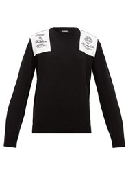 Raf Simons Embroidered Shoulder Patch Wool Sweater Black
