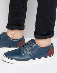 New Look Trainer With Contrast Trim In Navy Navy