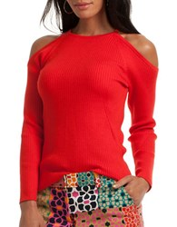 Trina Turk Merino Wool Ribbed Knit Cold Shoulder Sweater Torch Red