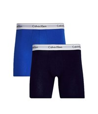 Calvin Klein Underwear Modern Cotton Stretch 2 Pack Boxer Brief Blue Black