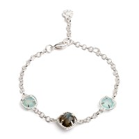 Azuni London Delphi Three Stone Bracelet Silver With Aqua Chalcedony And Labradorite