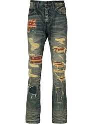 Prps Patch Detail Distressed Jeans Blue
