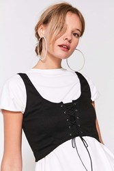 Silence And Noise Faith Lace Up Bustier Crop Top Black