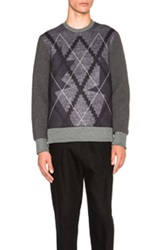 Neil Barrett Argyle Sweatshirt In Gray Checkered And Plaid Blue