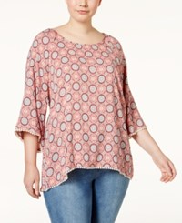 Eyeshadow Plus Size Printed Blouse Coral Multi
