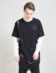 Knyew Distressed E Long Scoop T Shirt