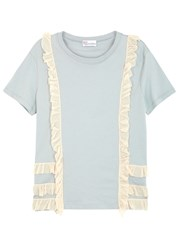 Red Valentino Light Blue Appliqued Cotton T Shirt