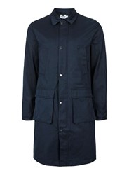 Topman Men's Navy Smart Military Style Mac Dark Blue