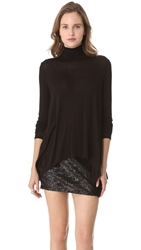 Three Dots Draped Turtleneck Tunic Black