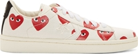 Comme Des Garcons White Canvas Signature Heart Print Converse Edition Sneakers