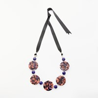 One Button Statement Marble Disc Ribbon Necklace Brown