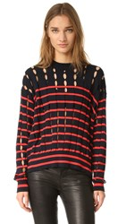 Alexander Wang Crew Neck Pullover With Slits Navy And Lipstick