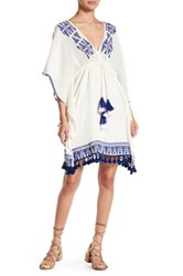 Gypsy 05 Kaftan Sleeve Embroidered Mini Dress Blue