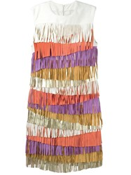 Drome Fringed Leather Dress Multicolour