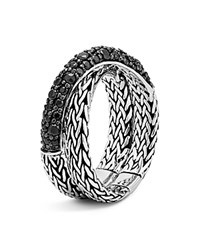 John Hardy Sterling Silver Classic Chain Overlap Ring With Black Sapphire Black Silver