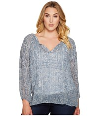 Lucky Brand Plus Size Blue Maze Peasant Top Blue Multi Women's Long Sleeve Pullover