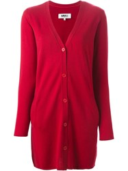 Mm6 Maison Margiela Long V Neck Cardigan Red