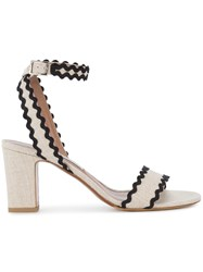 Tabitha Simmons Nude Black Leticia Heeled Sandals Women Linen Flax Leather 39.5 Nude Neutrals