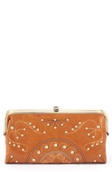 Hobo Lauren Studded Leather Wallet Brown Earth