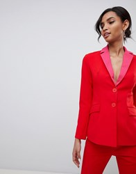 Little Mistress Contrast Blazer In Pomegranate Red