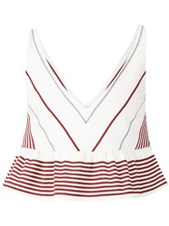 Elizabeth And James Striped Crop Peplum Top White