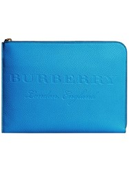 Burberry Embossed Document Case Blue