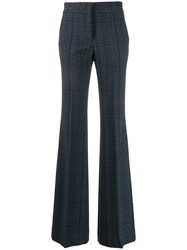 Piazza Sempione High Waisted Flared Trousers Blue