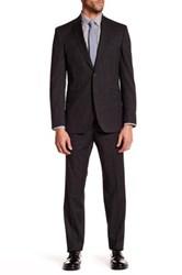 Ted Baker Jarret Grey Plaid Two Button Notch Lapel Wool Suit Gray