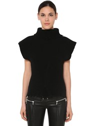 Unravel Structured Wool Blend Top Black