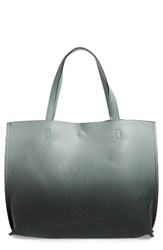 Street Level Ombre Reversible Faux Leather Tote Green Sage