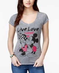 Hybrid Juniors' Disney Mickey And Minnie Mouse Laugh Graphic T Shirt
