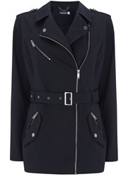 Mint Velvet Navy Compact Cotton Trench Dark Blue