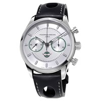 Frederique Constant Fc 397Hs5b6 Men's Vintage Rally Healey Chronograph Leather Strap Watch Black Silver