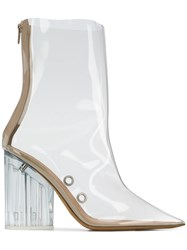 Yeezy Block Heel Ankle Boots Nude And Neutrals