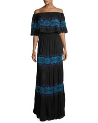 Chelsea And Theodore Off The Shoulder Ruffle Trim Maxi Dress Black Blue