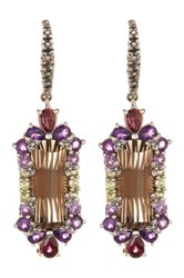 Stephen Dweck Sterling Silver Amethyst Peridot Smoky Quartz And Rhodolite Garnet Earrings Metallic