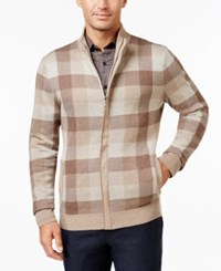 Tasso Elba Men's Mock Neck Check Zip Up Sweater Only At Macy's Taupe Heather