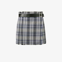 Alexander Mcqueen Mini Check Kilt Skirt Blue