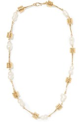 Attico Torsado Gold Plated Pearl Necklace One Size