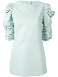 Celine T Shirt With Ruched Half Length Sleeves Green