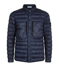 Stone Island Down Shirt Jacket Male Blue