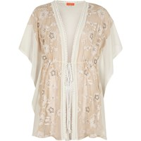 River Island Womens White Floral Embroidered Kaftan