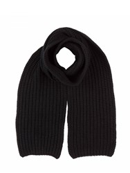 Johnstons Of Elgin Cashmere Chunky Luxe Rib Scarf Black
