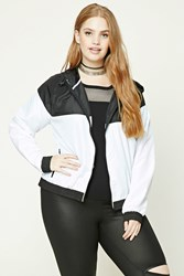 Forever 21 Plus Size Hooded Windbreaker Black White